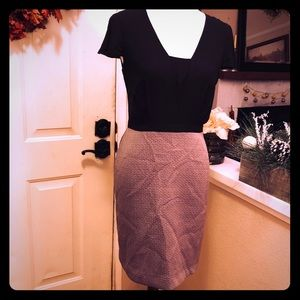 Gorgeous Paper Crown Taupe & Black Midi Dress